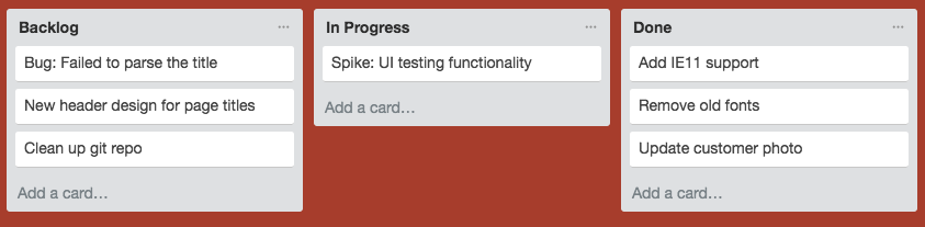 Taskboard with single task in todo: 'Spike: UI testing functionality'